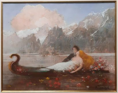 Albert TRACHSEL 1863-1969 Albert TRACHSEL 1863-1969 Couple en barque sur un lac de...