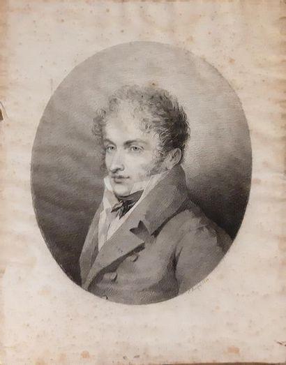 L LUSSIGNY (XIXe siècle) L LUSSIGNY (XIXe siècle) Portrait d'homme en redingote et...