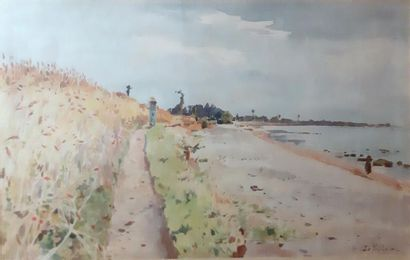 Ernest Le VILLAIN (1834-1916) Ernest LE VILLAIN (1834-1916) Strolling along the coast...