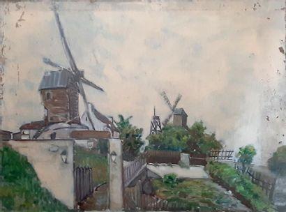 ECOLE FRANCAISE XXe SIECLE Les Moulins à Montmartre Hhuile sur toile. 68 x 90 CM...