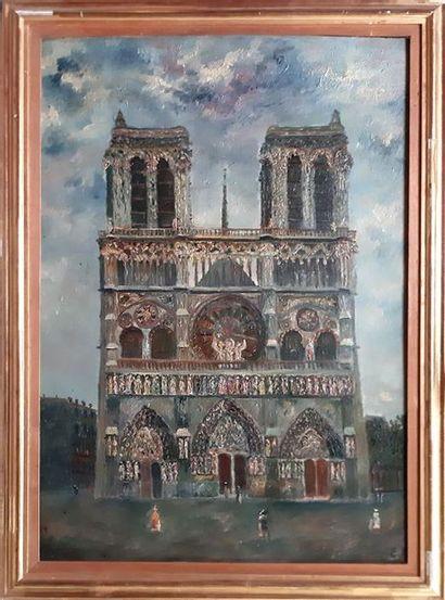 Emile BOYER (1877-1948) Emile BOYER (1877-1948) Cathédrale Notre Dame de Paris Huile...