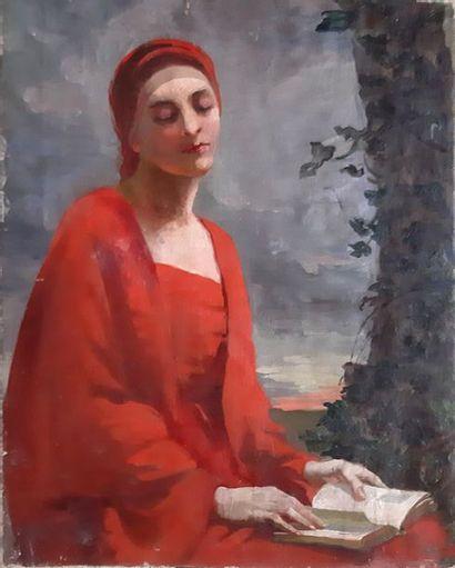 ECOLE FRANCAISE XXe SIECLE Femme assise à la robe rouge tenant un livre Huile sur...