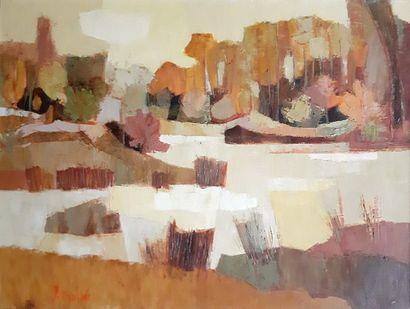 Jacques DOLLE (1926) Jacques DOLLÉ (1926) Sablière vers Grez huile sur toile signée...
