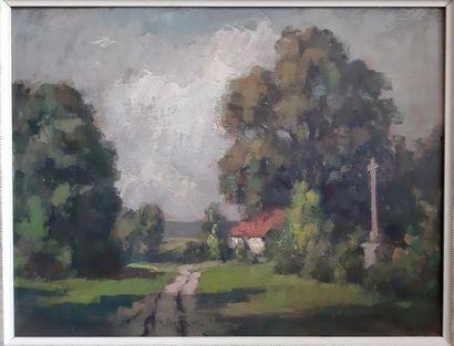 Émile WÉGELIN (1875-1962) Emile WEGELIN (1875-1962) Hamlet in the countryside Oil...