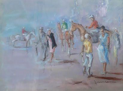 J. MEOU (1929) J. MEOU (1929) Aux couses hippiques Suite de trois pastels signés...