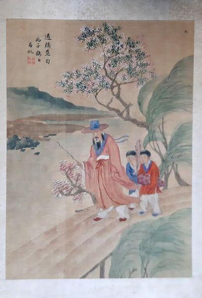 Ensemble de trois peintures sur tissu à motif...