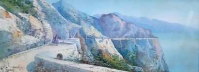Maria GIANNI (1873-1956) Maria GIANNI (1873-1956) La route en corniche surplombant...