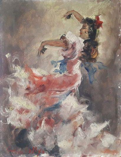 Vicenté CRISTELLYS (1898-1970) Danseuse de flamenco Huile sur panneau signée en...