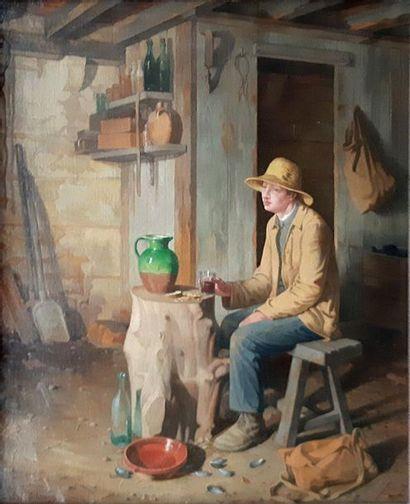 Gaston SCHNEGG (1866-1953) Gaston SCHNEGG (1866-1953)  La pause dans la chaumière...
