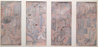 Gaston ANDRE (1884-1970) Quatre études de...