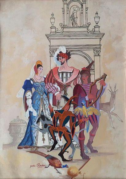 Gaston ANDRE (1884-1970) Four décor studies in one frame28 X 13 chaque provenance...