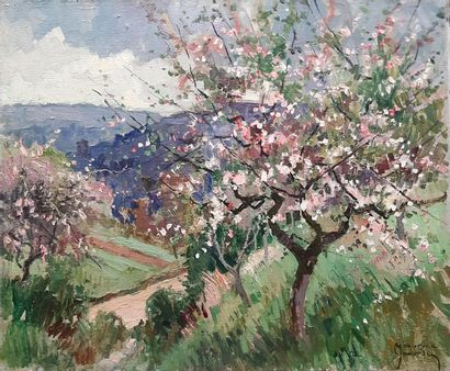 Maurice MARTIN (1894-1978) Maurice MARTIN (1894-1978) Fruit trees in bloom Oil on...