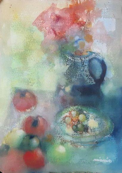 Jordi BONAS, né en 1937 Composition aux fruits...