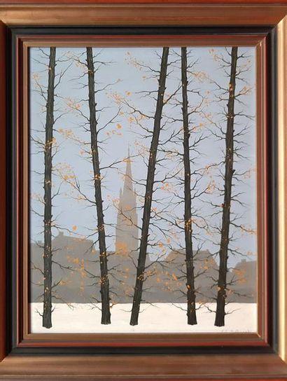 Hubert AICARDI (1922-1991)  Vue de cathedrale depuis le bois  Huile sur isorel signée...