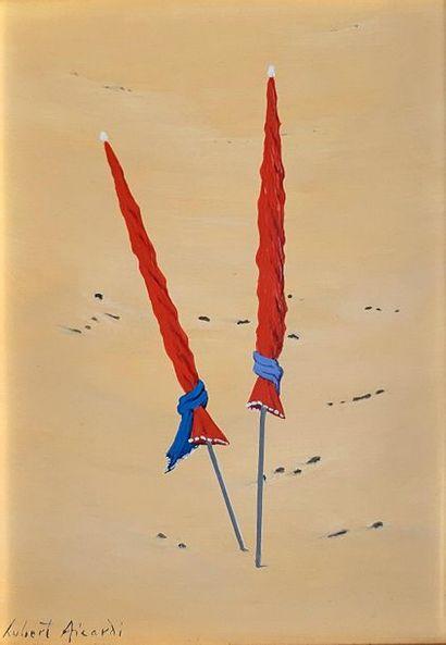 Hubert AICARDI (1922-1991)  Les deux parasols...