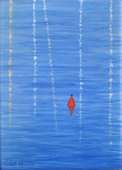 Hubert AICARDI (1922-1991)  Red buoy  Oil on isorel signed lower left. 22 x 16 ...