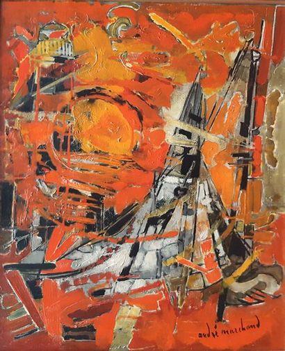 André MARCHAND (1907-1997)  Soleil couchant sur le port  Huile sur toile signée...