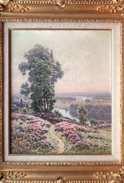 William DIDIER-POUGET (1864-1959)  Le matin, bruyères en fleurs  Huile sur toile...
