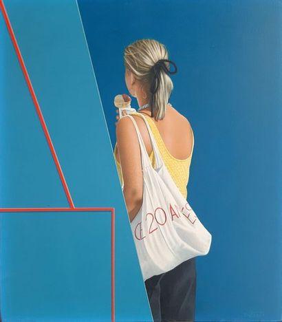 Jacques DETRAIT (1948)  Jeune fille au cornet de glace, 1983  Huile sur panneau...