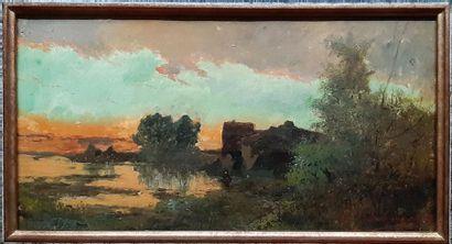 Emile GODCHAUX (1860-1938) Emile GODCHAUX (1860-1938) Soleil couchant sur la rivière...