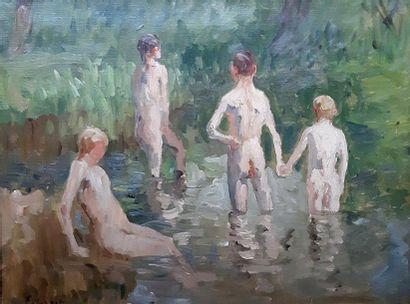 Ernest QUOST (1844-1931)  Les Baigneurs,...