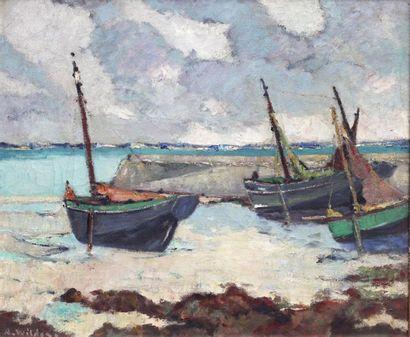 André WILDER (1871-1965) André WILDER (1871-1965)  Bateaux marée basse Saint Pierre....