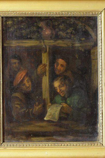 OSTADE Adriaen van (in Taste of), 1610 - 1685.  Villagers singing at the window...