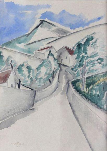Ossip ZADKINE (1890-1967) Ossip ZADKINE (1890-1967)  Cezannian landscape, 1919  Watercolour...