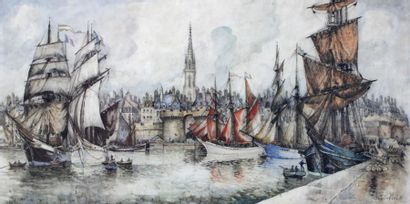 FRANK WILL (1900-1951) FRANK WILL (1900-1951)  View of Saint Malo  Important watercolor...