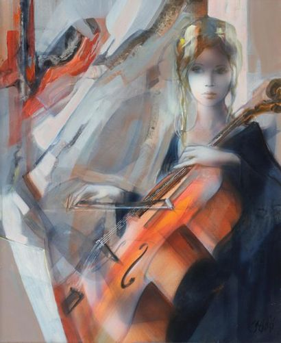 Jean Pierre VALADIE (1926) Jean Pierre VALADIE (1926)  La violoncelliste  Huile sur...