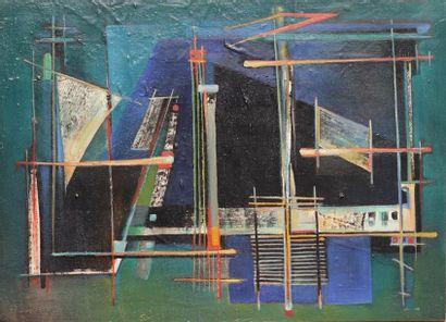 Roger DESSERPRIT (1923-1985)  Composition 49  Technique mixte sur carton signée...
