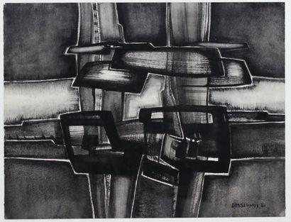 Roger DESSERPRIT (1923-1985)  Composition en noir 81  Technique mixte sur papier...