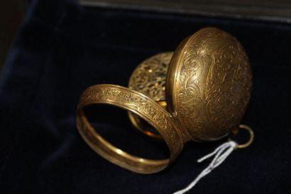 MONTRE à coq en métal doré de style oignon, mouvement marqué Boucheret à Paris,...
