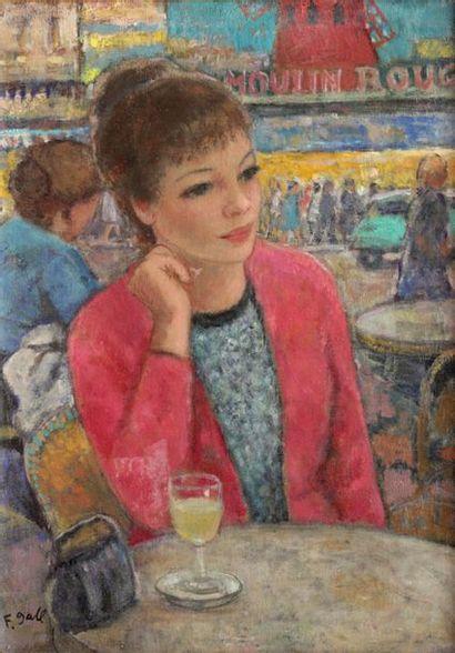 François GALL (1912-1987) François GALL (1912-1987)  Jeune femme à une terrasse de...
