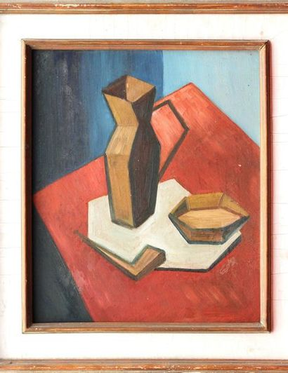 ECOLE POST-CUBISTE XXe SIECLE Nature-morte au pichet Oil on panel signed on the...