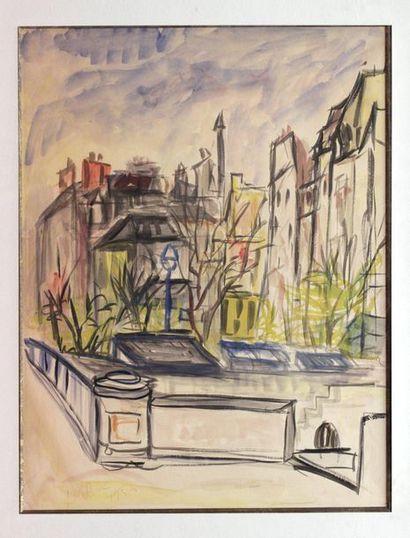 Roland DUBUC (1924-1998)  Vue de ville, 1956...