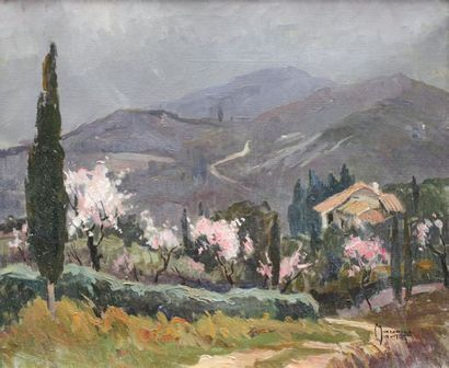 Maurice MARTIN (1894-1978) Maurice MARTIN (1894-1978) The almond blossoms Oil on...