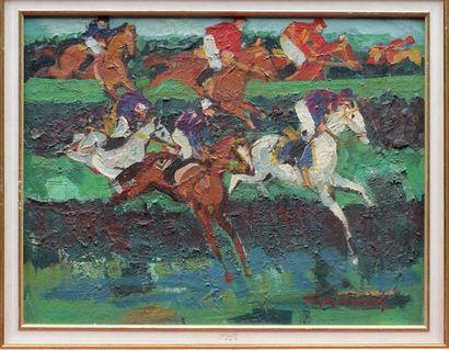 Pierre GAILLARDOT (1910-2002) PIERRE GAILLARDOT (1910-2002) COURSE OF OBSTACLES Oil...