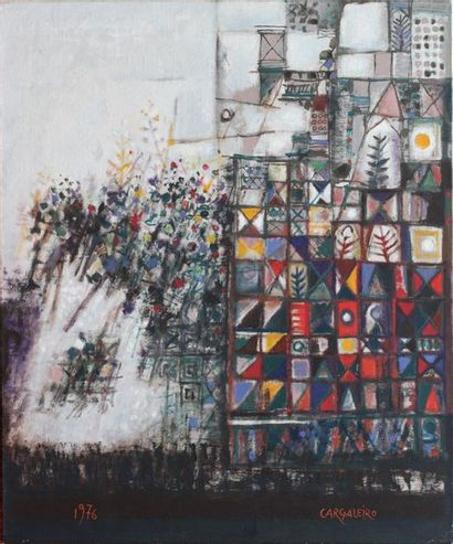 Manuel CARGALEIRO (1927)  Fleurs et carreaux...