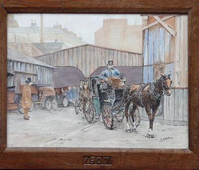 Lucien GENTIL (XIXe- XXe siecle)  Evolution de l'entreprise de taxi G7  Trois aquarelles...