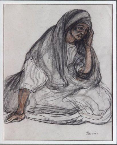 André SURÉDA (1872-1930)  Vieille femme assise...