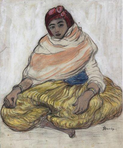 André SURÉDA (1872-1930)  Jeune femme assise en tailleur  Technique mixte sur papier...