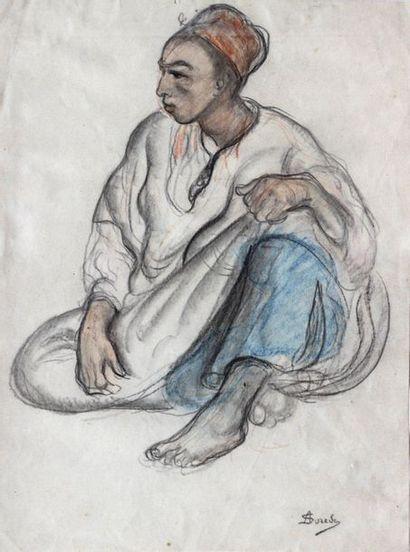 André SURÉDA (1872-1930)  Jeune homme accroupi...