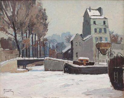 Maurice MARTIN (1894-1978) Maurice MARTIN (1894-1978)  Le canal sous la neige  Huile...