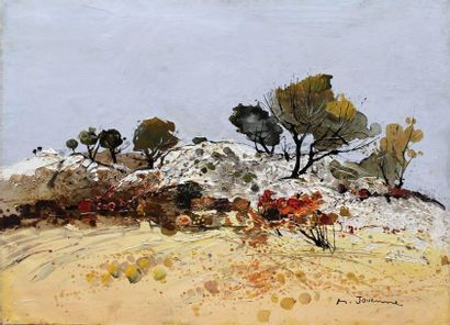 Michel JOUENNE (né en 1933) Michel JOUENNE (born 1933) Trees on the Rock Oil on canvas...