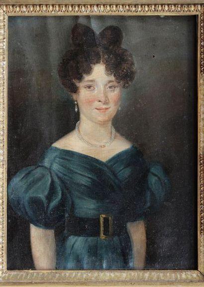 ECOLE FRANCAISE début XIXe siècle Portrait de jeune femme Huile sur toile fixée...