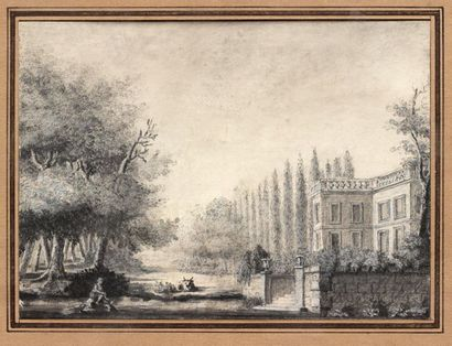 French school, circa 1800  Pastoral scene in a park  Pencil drawing, ink  13 x 17.5...