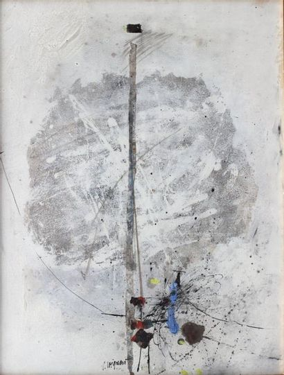 James COIGNARD (1925-1997)  Composition  Mixed media and collage on paper signed...