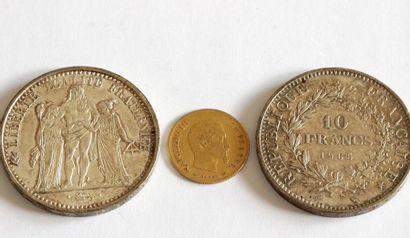Ensemble de trois pièces de monnaie française...