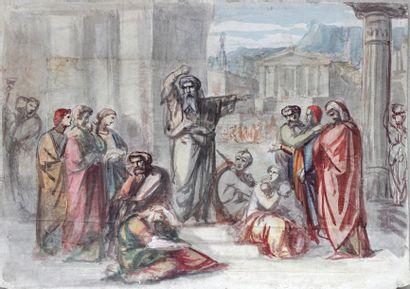 ECOLE FRANCAISE XIXe SIECLE Scène antique auprès du temple Aquarelle sur papiers...